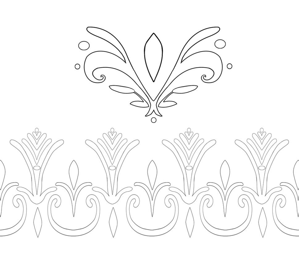 Elsa Coronation Dress Pattern Outlines by Kaeldri