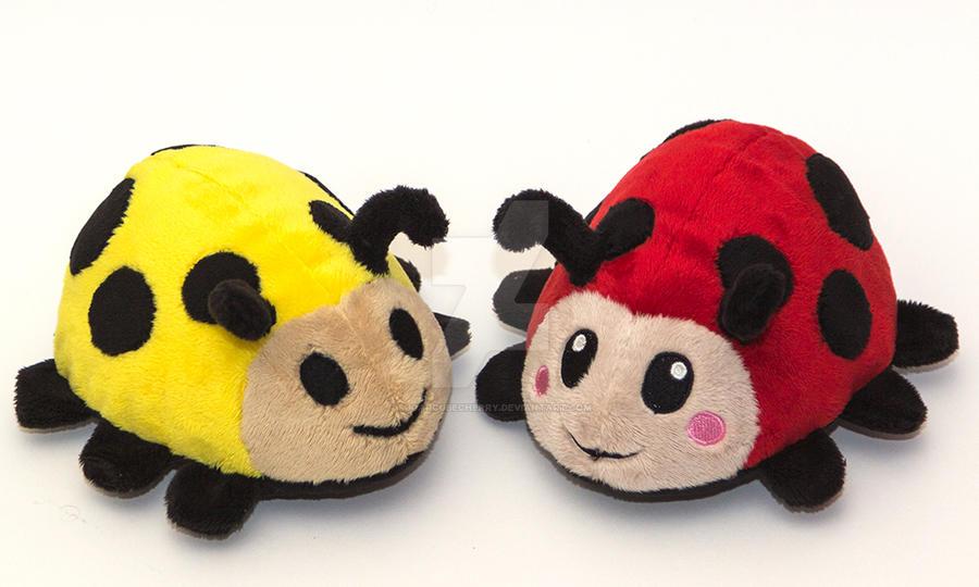 Handmade ladybug plushies by SugarcubeCherry