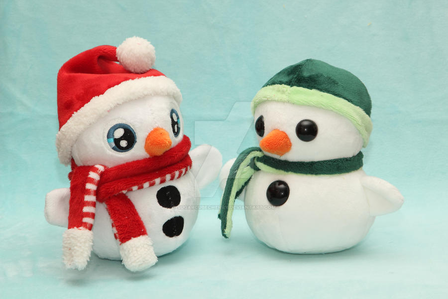 Warm hug from a cold toy - handmade snowman plush by SugarcubeCherry
