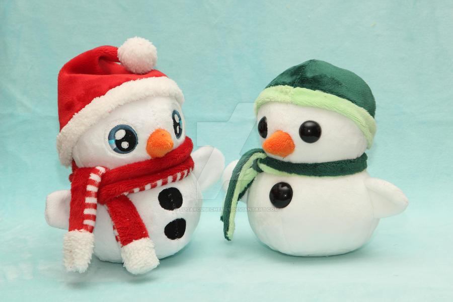 Warm hug from a cold toy - handmade snowman plush by SugarcubeCherry