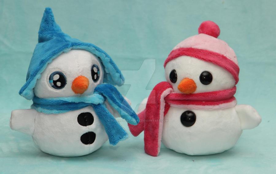 Handmade custom snowman plushies by SugarcubeCherry
