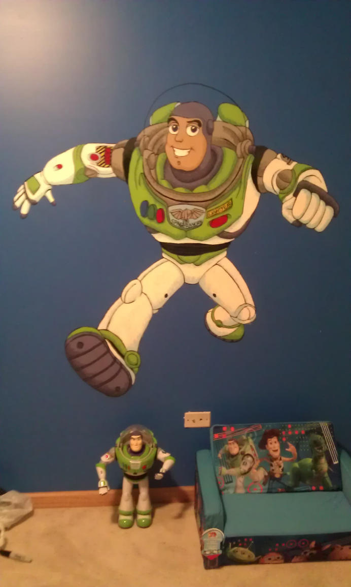 Buzz lightyear mural by chickiedee on deviantart for Buzz lightyear wall mural