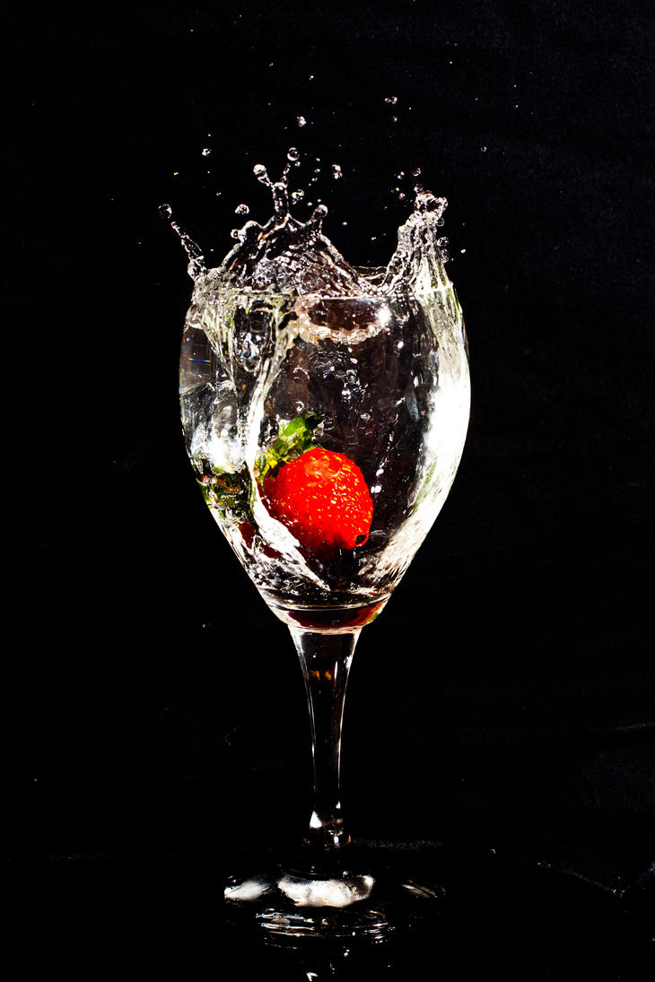 A glass of water with a strawberry 2 by MultimediaNaranja