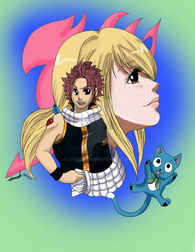 FT: Lucy, Natsu and Happy by Jyinxe