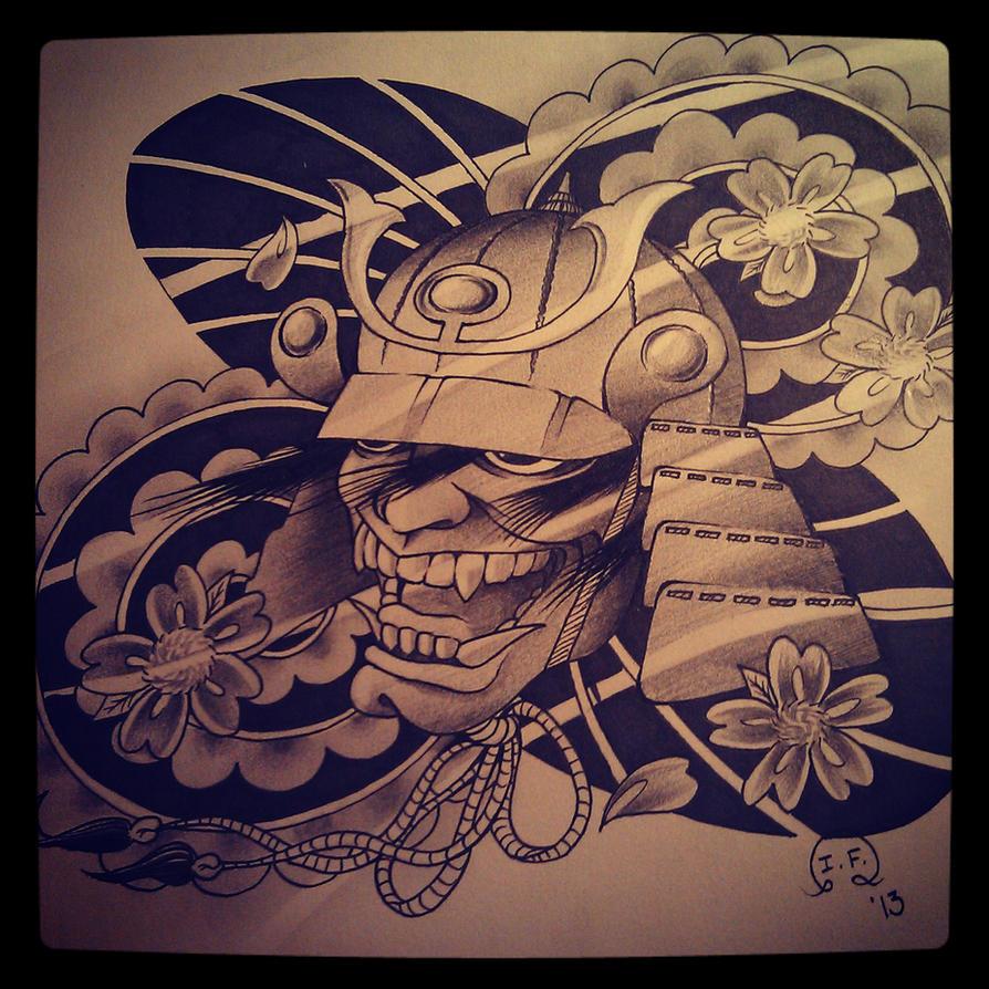 oni samurai tattoo design by ivanf123 on deviantart. Black Bedroom Furniture Sets. Home Design Ideas