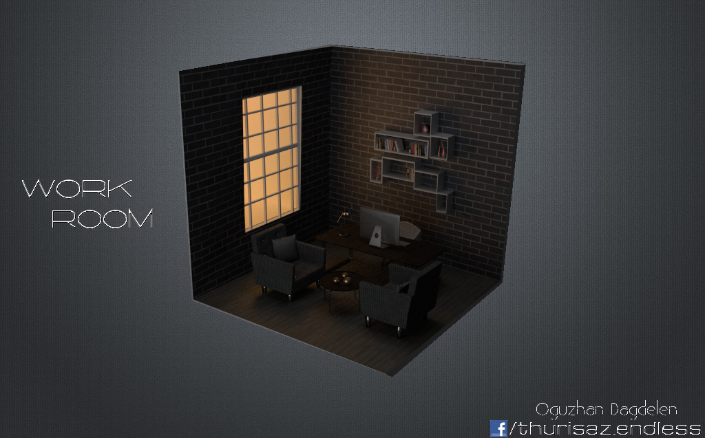 Work Room 3D Model - Oguzhan Dagdelen by OguzhanDagdelen