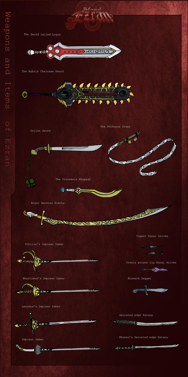 Weapons and Items of Ezran 1 by KirbBrimstone