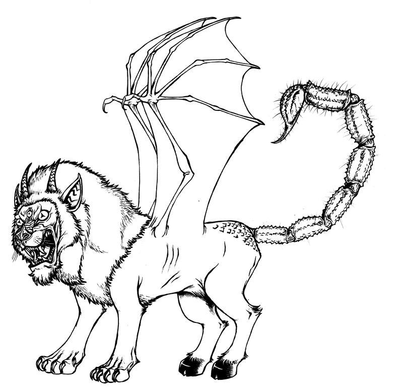 Neosaion - Beast form-line art by KirbBrimstone