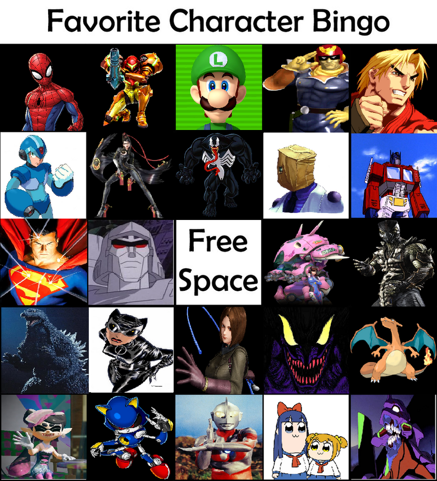 Favorite Character Bingo by TheAmazingMisterZ