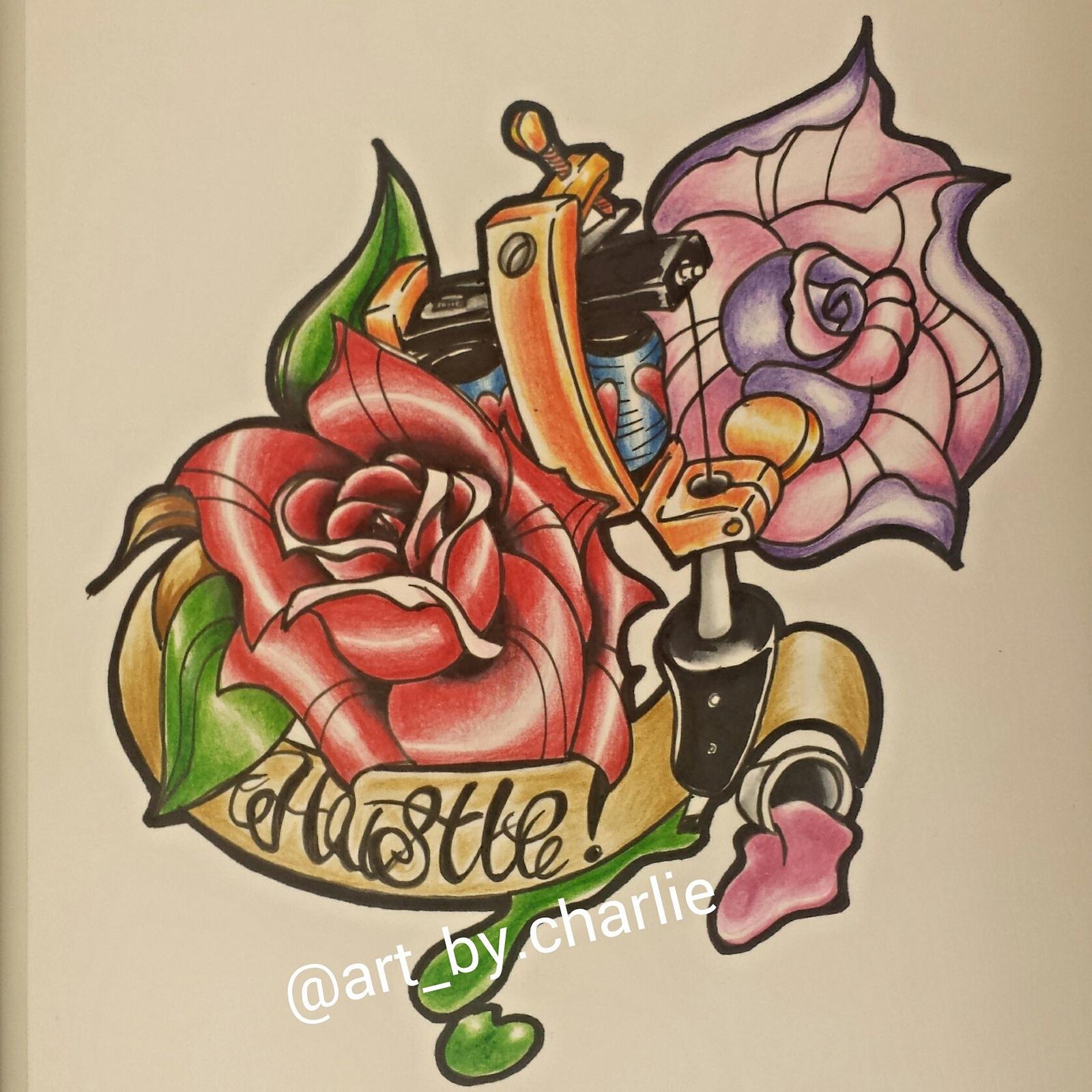 new school rose tattoo designs. Black Bedroom Furniture Sets. Home Design Ideas