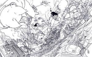 Vegeta vs Goku lineart by IgorWolski