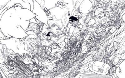 Vegeta vs Goku lineart
