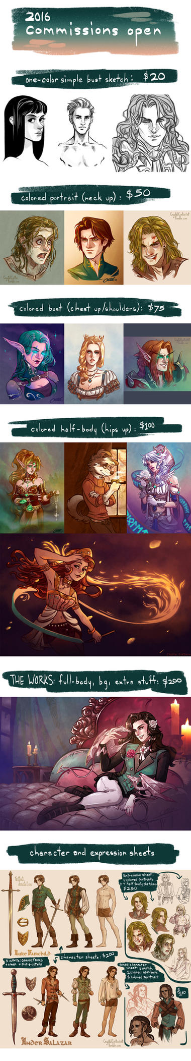 COMMISSIONS OPEN! - 2016 (4 slots left) by CrystalCurtisArt