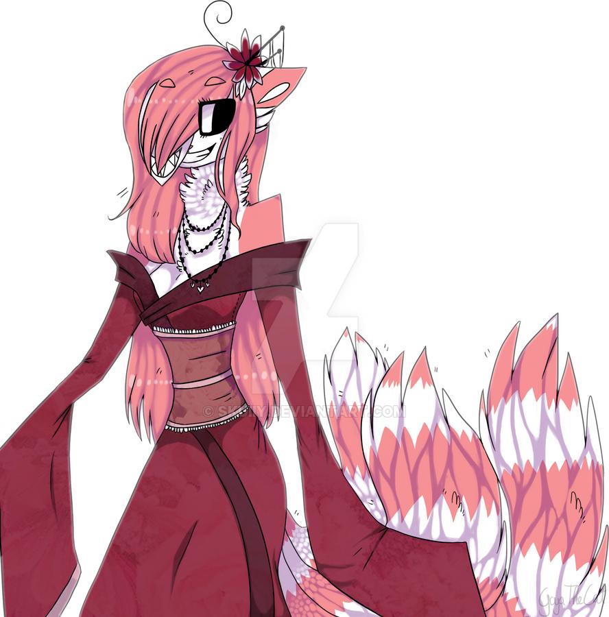 .: Doodle PhotoShop :. Kimono RedLove Kitsune by skuIIy