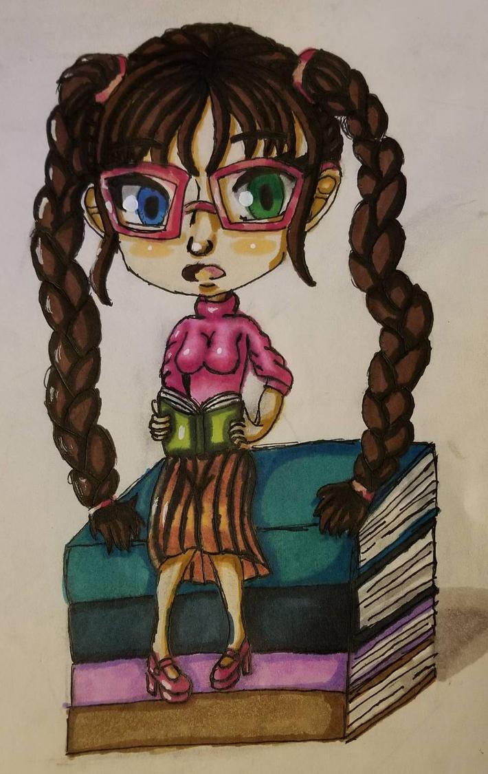 Bookworm Chibi by BritxBrit