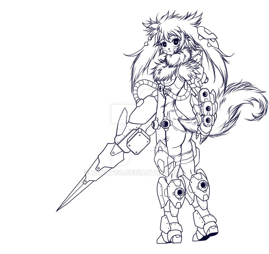 Alkathari's Pierce-Assault Gear line art by Hayatso