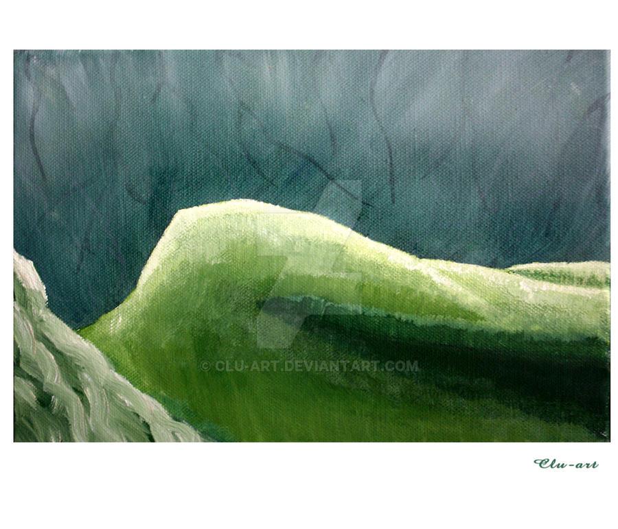Female Nude in Green by Clu-art