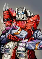 Transformers G1: Scattershot Vs Hun Grrr by Clu-art