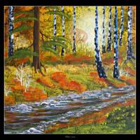Autumn Stream by Clu-art
