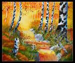 Autumn, Water, Birch, green