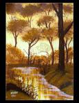 Golden Autumn Creek by Clu-art