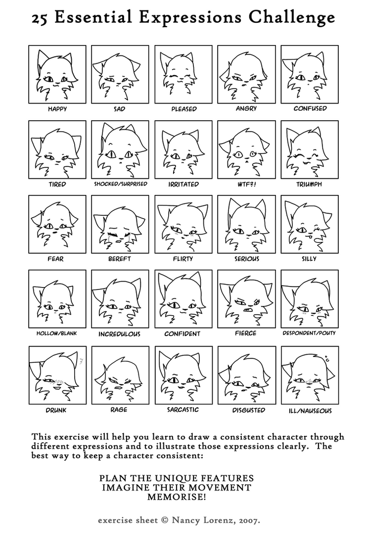 25 Essential Expressions Female Cat by Leilani-kitty