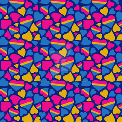 Pansexual Pride Hearts Pattern