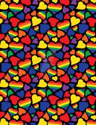 Gay Pride Rainbow Hearts Pattern