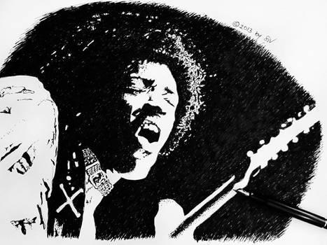 Jimmy Hendrix - black ink (fountain pen) on paper