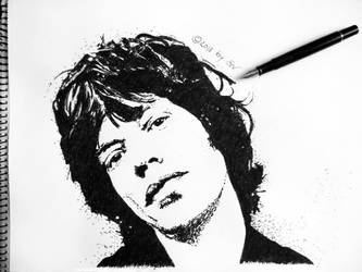Mick Jagger - black ink (fountain pen) on paper by morgain-ized