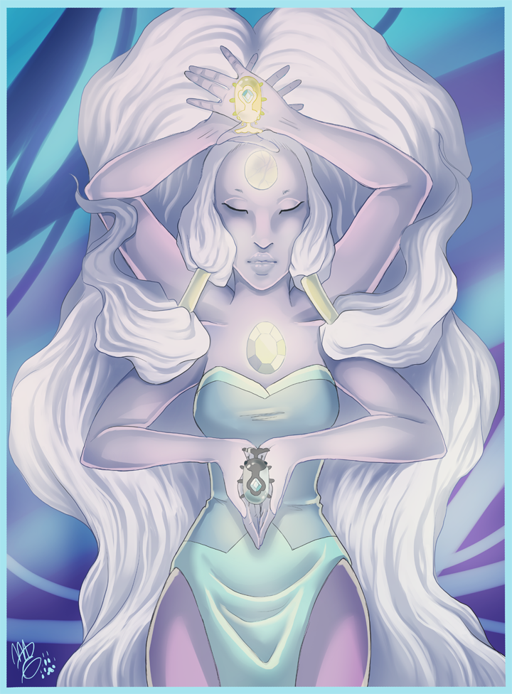 Print of Opal, the fusion between Amethyst and Pearl, from Steven Universe. To be sold at Anime Festival Wichita. With heaven and earth beetles!   www.youtube.com/watch?v=XT13ij…