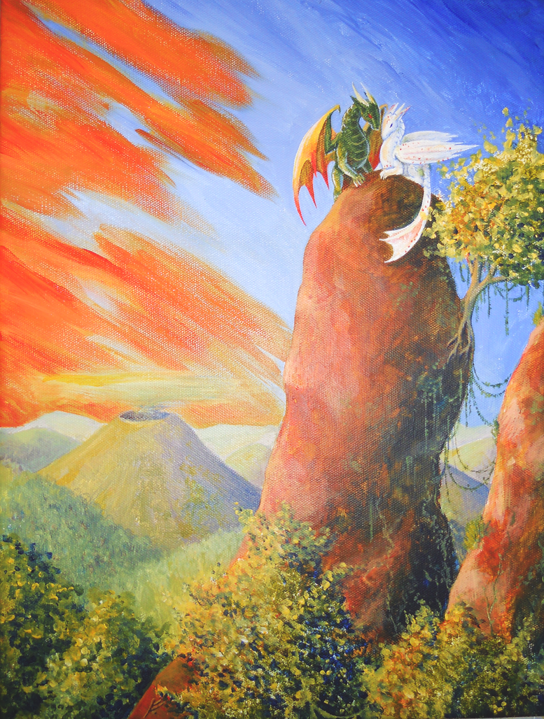 Sunset Dragons by LittleGreyDragon