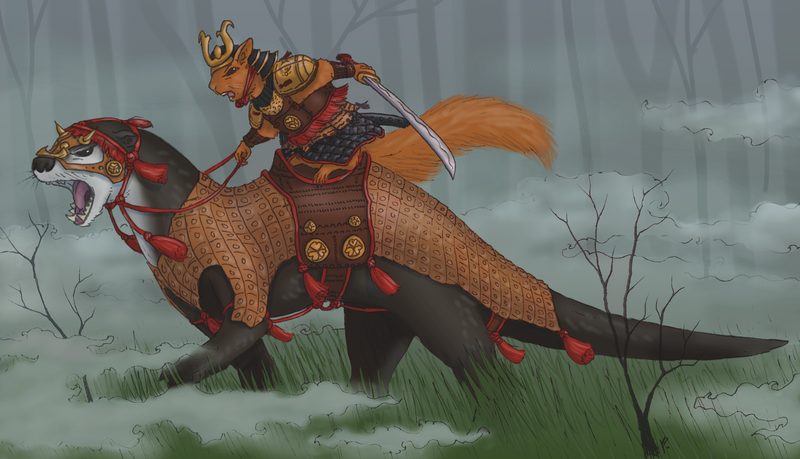 Samurai Squirrel by LittleGreyDragon