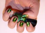 Misc. - elegant green and gold nail art