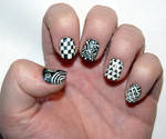 Misc. - black and white hodgepodge nails