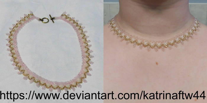 Peach and Brass Necklace by KatrinaFTW44