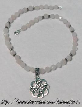 Rose Quartz Celtic Floral Necklace