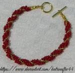 Red and Gold Spiral Bracelet by KatrinaFTW44