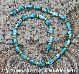 Teal and Gold Necklace by KatrinaFTW44