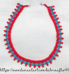 Red, Teal and Purple Necklace by KatrinaFTW44