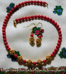 Red Coral Necklace Set in Gold by KatrinaFTW44
