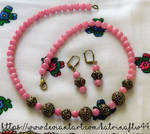 Pink and Brass Bali Bead Necklace Set by KatrinaFTW44