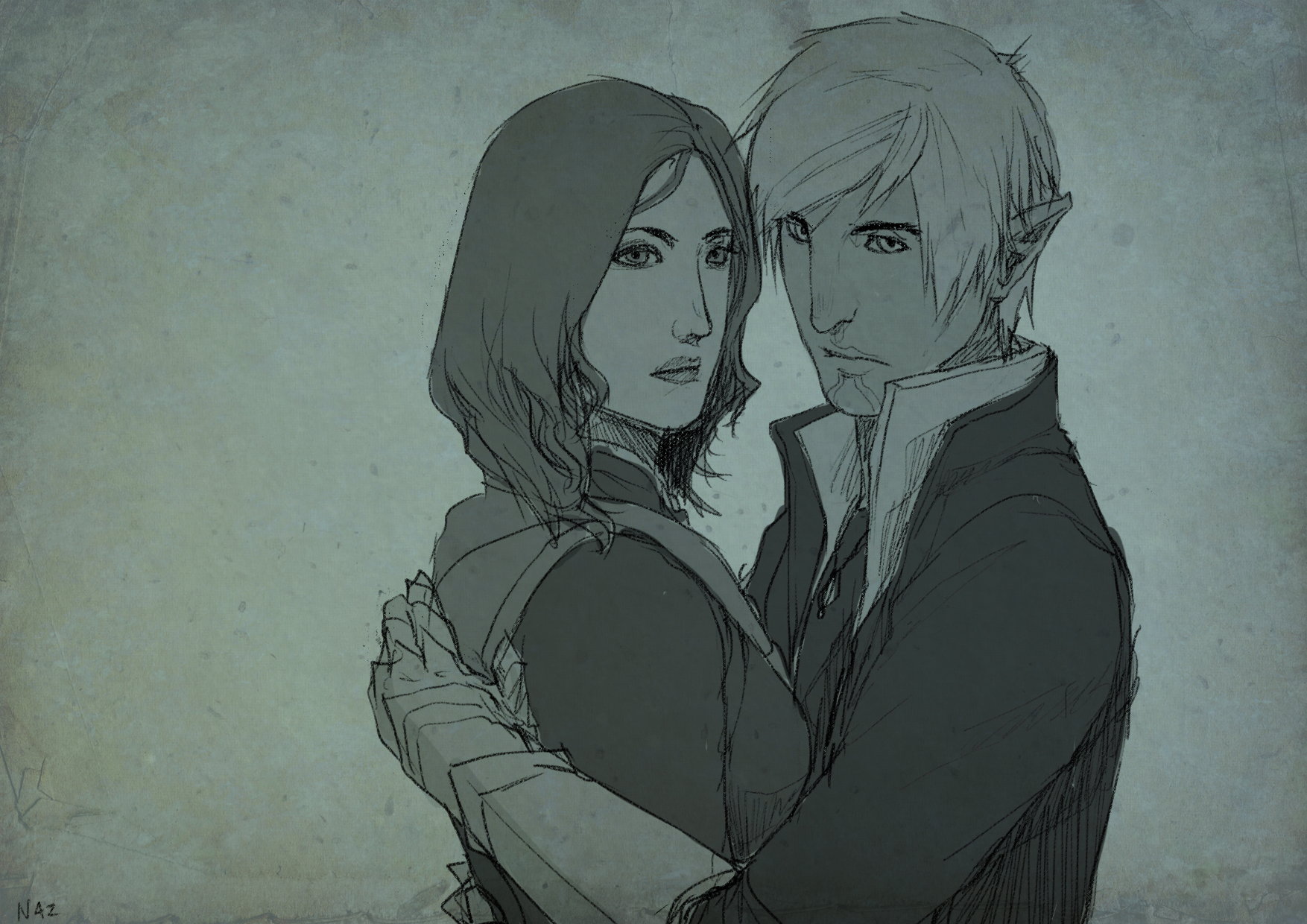 DA2 Commission: The Protector (Fenris/Hawke) by ParisWriter