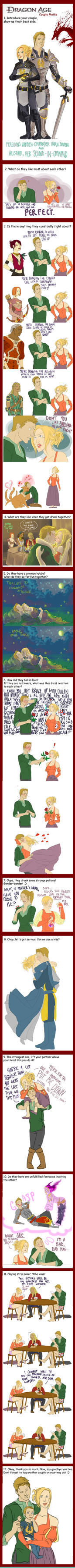 Dragon Age Couples meme: Varia Surana and Alistair by ParisWriter