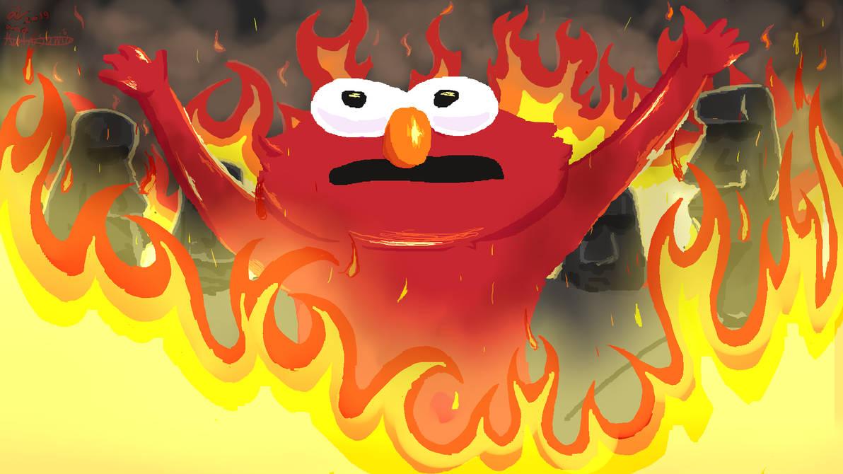 Elmo On Fire By Alonzoalfonsino On Deviantart