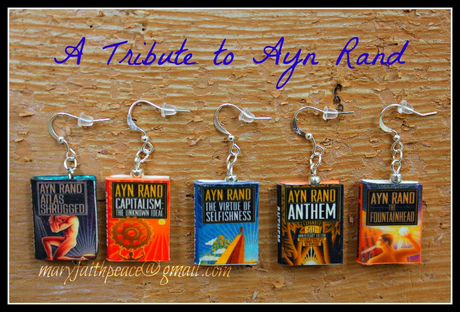 Ayn Rand Book Cover Art : Ayn rand clay mini book earrings by maryfaithpeace on