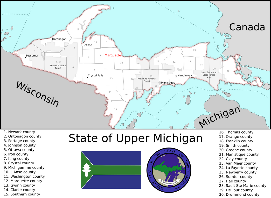 Us 12 Michigan Map.Map Of The Us State Of Upper Michigan Imaginarymaps