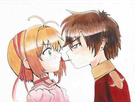 sakura and syaoran pocky kiss