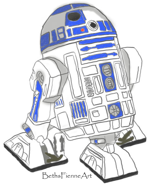 r2d2  colour version graphics tablet drawing  by bethsfienneart on deviantart Star Wars Coloring Pages  C3po Coloring Pages Free