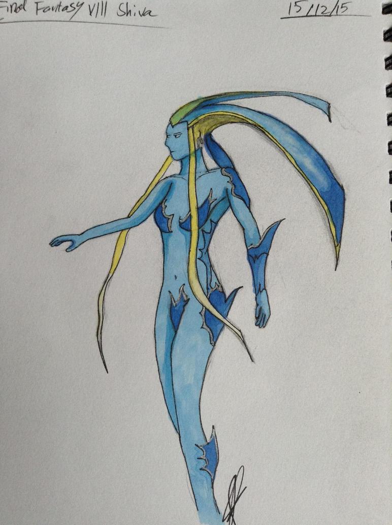 final fantasy viii shiva sketch by bonelordkitty102 on